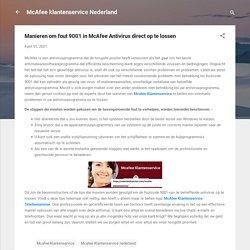 Manieren om fout 9001 in McAfee Antivirus direct op te lossen