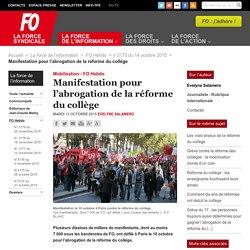 Manifestation pour l'abrogation de la réforme du collège