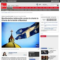 Manifestation hétéroclite contre la chartela Charte de la laïcité à Montréal