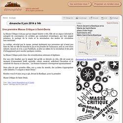 8 juin: Manifestation à vélo « Masse critique » à Saint-Denis / Saint-Denis