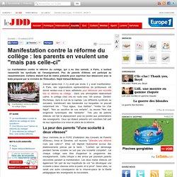 """Manifestation contre la réforme du collège : les parents en veulent une """"mais pas celle-ci"""""""
