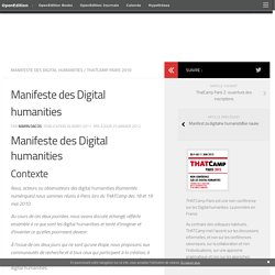 Manifeste des Digital humanities | ThatCamp Paris 2010
