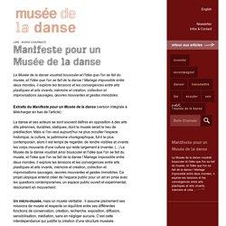 Manifeste pour un Musée de la danse - Musée de la danse