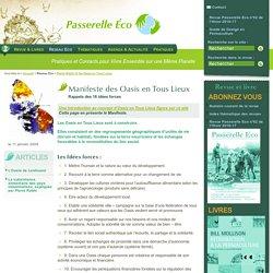 Manifeste des Oasis en Tous Lieux - Rappels des 16 idées forces - Pierre Rabhi et les Oasis en Tous(...)
