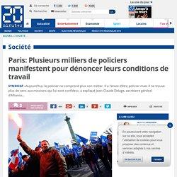 Paris: Plusieurs milliers de policiers manifestent pour dénoncer leurs conditions de travail