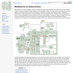 Manifesto for an Active Archive - ActiveArchives