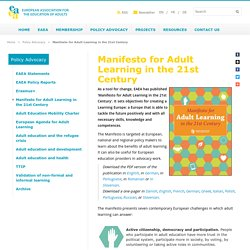 Manifesto for Adult Learning in the 21st Century - European Association for the Education of Adults