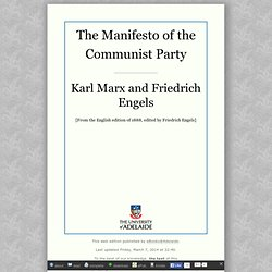 The Manifesto of the Communist Party