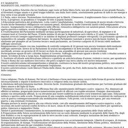 MANIFESTO DEL PARTITO FUTURISTA ITALIANO