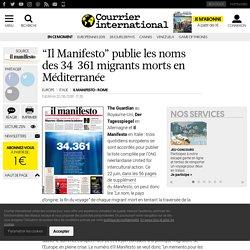 """""""Il Manifesto"""" publie les noms des 34361 migrants morts en Méditerranée"""