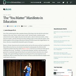 "The ""You Matter"" Manifesto in Education"