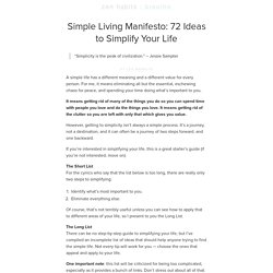 Simple Living Manifesto: 72 Ideas to Simplify Your Life | zen habits