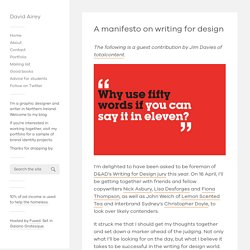 A manifesto on writing for design — David Airey