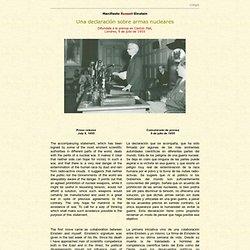 Manifiesto Russell-Einstein, una declaración sobre armas nucleares, Londres 9 de julio de 1955