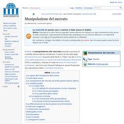 Manipolazione del mercato - Wikiversità
