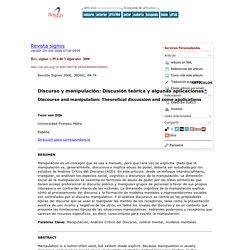 Revista signos - Discurso y manipulación: Discusión teórica y algunas aplicaciones