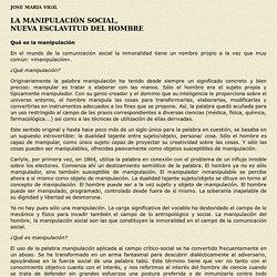 LA MANIPULACIÓN SOCIAL: NUEVA ESCLAVITUD DEL HOMBRE