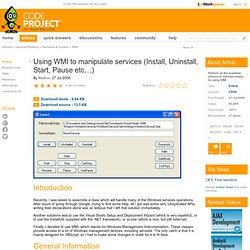 Using WMI to manipulate services (Install, Uninstall, Start, Pause etc…)
