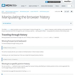 Manipulating the browser history - Web developer guide