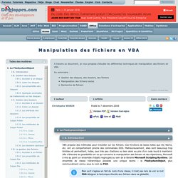 Manipulation des fichiers en VBA