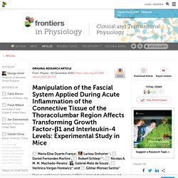 Manipulation of the Fascial System Applied During Acute Inflammation of the Connective Tissue of the Thoracolumbar Region Affects Transforming Growth Factor-β1 and Interleukin-4 Levels: Experimental Study in Mice