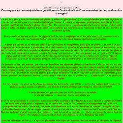 Consequences de manipulations g n tiques = Contamination d'une mauvaise herbe par du colza transg ni - Spiritualit , Nouvel-Age - Ecologie, Sciences de la Terre