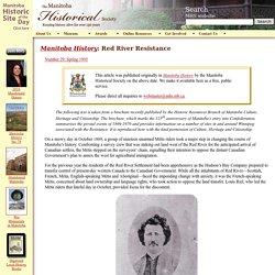 Manitoba History: RedRiver Resistance