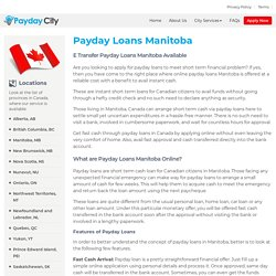 Payday Loans in Manitoba with E-Transfer