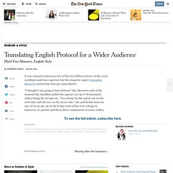 Translating English protocol for a wider audience 20/06/2014 - NYTimes.com