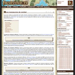 Les manœuvres de combat - Wikis Pathfinder-fr