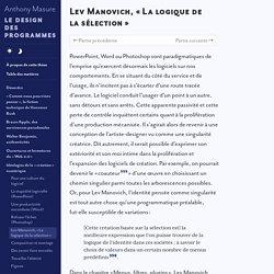 Lev Manovich, «La logique de la sélection»