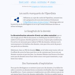 Les outils manquants de l'OpenData, dans avenir