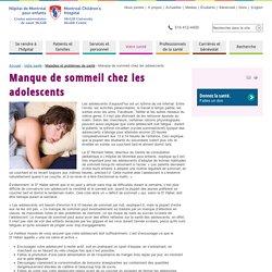 Manque de sommeil chez les adolescents