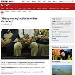 'Manspreading' added to online dictionary - BBC News