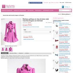 Manteau gothique en drap de laine violet manches longues col chemisier - Bellewe.com