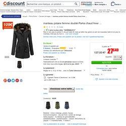 manteau polaire femme doublé Parka chaud hiver ... NOIR - Achat / Vente manteau - caban