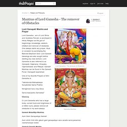 Mantras of Lord Ganesh - The remover of Obstacles