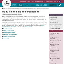 Manual handling and ergonomics