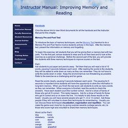 Manual Memory, Reading