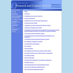 Manual of Protocol Table of Contents