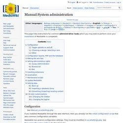MediaWiki Manual : System administration