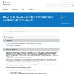 How to manually rebuild Performance Counter Library values