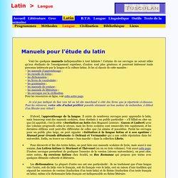 Manuels pour l'étude du latin