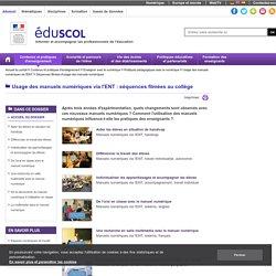 Séquences filmées au collège de l'usage des manuels numériques via l'ENT