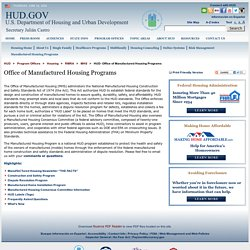 HUD- Office of Manufactured Housing Programs
