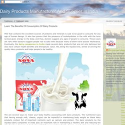 Learn The Benefits Of Consumption Of Dairy Products