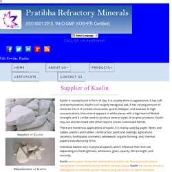 Manufacturer of Kaolin India Indonesia