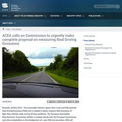 calls on Commission to urgently make complete proposal on measuring Real Driving Emissions