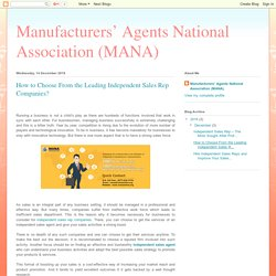 Manufacturers' Agents National Association (MANA): How to Choose From the Leading Independent Sales Rep Companies?