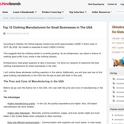 Top 12 Clothing Manufacturers for Small Businesses in The USA